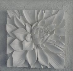 3D sculptural art with textured background. Lotus flower white,Australian made.