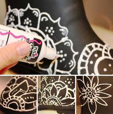 bottes caoutchouc fantaisie fleurs peinture relief 3D fond noir