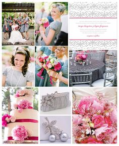 Vintage Pink and Gray Inspiration Board #weddings