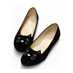 SheIn(sheinside) Black Cat Print Round Toe Flats found on Polyvore featuring shoes, flats, black, cats, scarpe, faux leather shoes, pattern flats, vegan shoes, cat print shoes and round cap