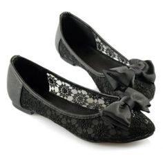 Sweet Casual Splicing Lace and Bow Design Spring Black Flat Shoes For Women