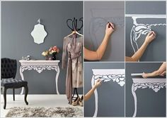 Make a Painted Faux Table Under a Floating Shelf If no Space for a Console Table