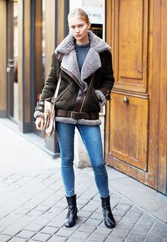 Beat the winter blues in a shearling jacket. // street style
