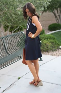 Navy Dress, White Jewels, Cognac Tote, Madewell, Banana Republic, Old Navy 3
