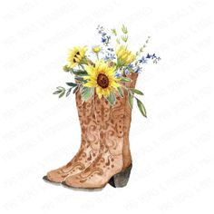 Boots & Sunflowers Waterslide Different Options** Watercolor Pattern, Watercolor Art, 60th Birthday Ideas For Mom, Country Backgrounds, Stitch Games, Sunflower Images, Cricut Craft Room, Simple Acrylic Paintings, Instagram Highlight Icons
