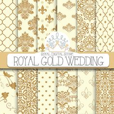 "Wedding digital paper: ""Royal Gold Wedding Digital Paper"" with wedding background, wedding pattern, wedding digital download for invitations"