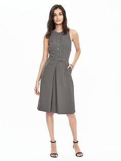 Button-Front Crepe Pocket Dress