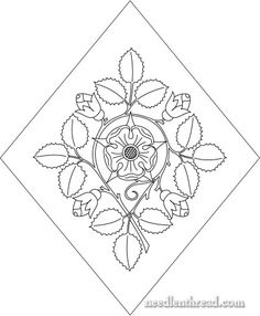 Tudor rose and buds embroidery pattern