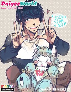 Earning points for Team Aoi <3 Enjoy this little drawing of Aoi as a guy with this weird alpaca/llama thing. Links to this pic will be in comment box. This will be my last entry, busy with uni work.   porukachii.PaigeeWorld.com  #teamaoi #nyanvsaoi #paigeeworld #marvyuchida #digitalart #llama #alpaca #thing #welcomenewpwusers