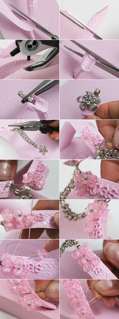 pink rubber flip flops beads sewing embellishments tutorial
