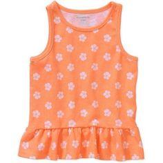 Garanimals Baby Toddler Girl Printed Peplum Tank Top, Size: 5 Years, Orange