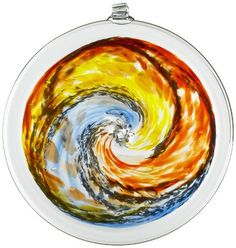 Kitras Van Glow Hanging Sun Disc Glass Ornament, Gold/Blue by Kitras Art Glass. $46.94. Outdoor Art. Can be enjoyed indoors and outdoors. Made with Recycled glass. Make a statement in your garden with these intricately hand-crafted discs. Swirls of color play with the natural light, attracting hummingbirds and butterflies. These discs can be used indoors or outdoors year round.. Save 16% Off!