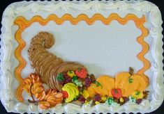 Fall or Thanksgiving sheet cake Fall Theme Cakes, Fall Cakes, Themed Cakes, Sheet Cakes Decorated, Sheet Cake Designs, Thanksgiving Cakes, Zucchini Cake, Fall Birthday, Cake Trends