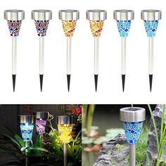 Topist Solar Garden Stake Lights LED Rechargeable Mosaic Border Garden Post Lights Color Changing Decoration Lights for Pathway Lawns Patio Garden Yard Party Outdoors Pack of 6 -- Check this awesome product by going to the link at the image.