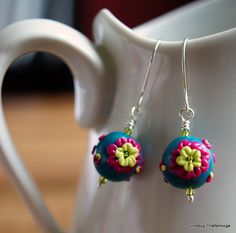Polymer Clay Applique Flower Bead Earrings by JunebugChattanooga, $15.00