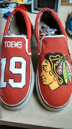Chicago Blackhawks Hand Painted Shoes by CraftsbyJayy on Etsy