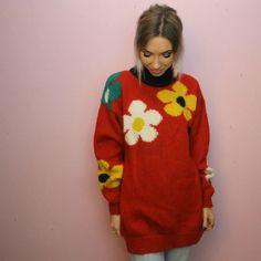 Vintage Floral Jumper Hippie Red Chunky Knitwear 80s 90s Fashion Style Retro Flower Slush Vintage Asos Depop