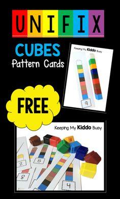 Unifix Cube pattern cards - FREE center for pre-k or kindergarten - easy math activity idea FREEBIE Preschool Centers, Numbers Preschool, Preschool Printables, Preschool Classroom, Preschool Learning, Kindergarten Math, Math Centers, Free Printables, Kids Numbers