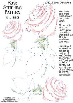 Rose Stitching Pattern in 3 sizes on Craftsuprint designed by Jolis DeAngelis - This pattern is based on a photo I snapped of a gorgeous rose. You can stitch it in three different sizes, or perhaps you can resize it yet again to suit your own needs/card/project. It is great for all occasions and can be stitched in any colorway you prefer. Have fun! - Now available for download! Embroidery Cards, Embroidery Patterns, Card Patterns, Stitch Patterns, String Art Diy, Stitching On Paper, Art Carte, Sewing Cards, String Art Patterns