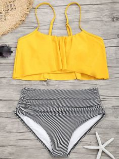 Shop stylish women's swimwear at FABKINI & find tankinis, bikinis, one-piece swimsuits, monokinis & more. Modest Bikini, Flounce Bikini, Modest Swimsuits, Striped Bikini, Cute Swimsuits, Peplum Swimsuit, Women Swimsuits, Yellow Bathing Suit, Bathing Suits One Piece