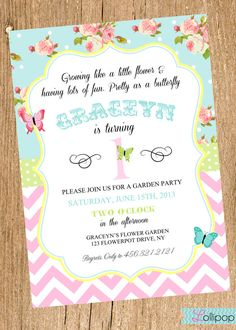 increase butterfly size, dark purple only. light purple background, no blue. Vintage GARDEN Party Printable Birthday Invitation by LollipopInk, $13.50