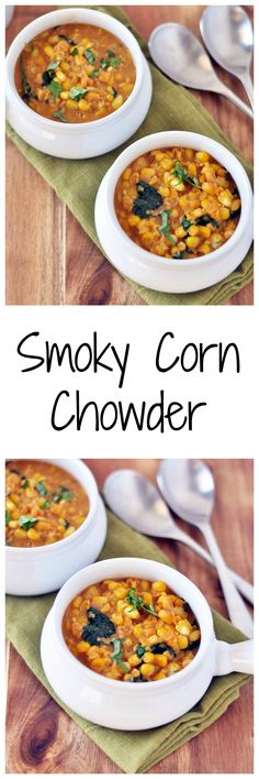 Sweet and smokey corn chowder from the Vegan Bowl Attack cookbook! Vegan and gluten free. Chowder Recipes, Soup Recipes, Whole Food Recipes, Vegetarian Recipes, Healthy Recipes, Healthy Eats, Vegan Athlete Meal Plan, Bright Line Eating Recipes, Slow Cooker Recipes