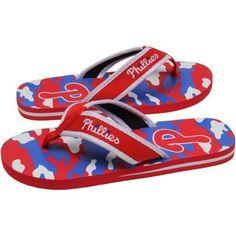 Philadelphia Phillies Camo Flip Flops Sandals Mens Red White Royal Blue NEW #ForeverCollectibles #FlipFlops