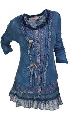 Pretty Angel Clothing Layered Victorian Tunic In Turquoise