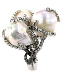 Wendy Yue - Pearl and Diamond Cluster Ring