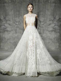 vestido de noiva ATOCHA de yolan cris 2016 romantic lace com top e renda sobreposta