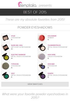 BEST OF 2015 These are my absolute favorites from 2015! What were your favorite powder eyeshadows in 2015?