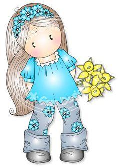 Digital Digi Chloe with Daffodils Stamp by PinkGemDesigns on Etsy