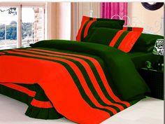 7 Pc 14''Pkt & 14''Drop Egy.Cotton Striped Orange&Dark Green Bedding Set Twin