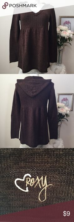 """Roxy Hooded Cotton Sweater Tunic Worn a lot, washed on gentle cycle & flat to dry (low dryer for a few minutes to get washer wrinkles out.      Bust: 38 Length: 29"""" Color: 2 colors of brown (mottled). Condition: Super Good pre-loved. Roxy Tops Tunics"""
