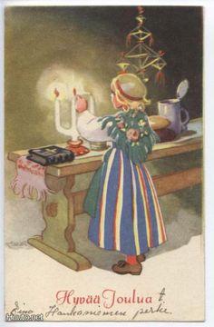Martta Wendelin Vintage Christmas Cards, Retro Christmas, Christmas Deco, Xmas Cards, Christmas Greetings, Vintage Cards, Ghost Of Christmas Past, Swedish Christmas, Scandinavian Christmas