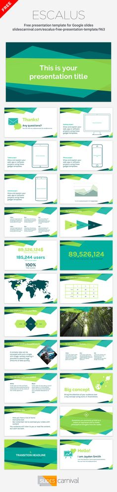 This free presentation template has a professional bold look. The geometric background in a green color palette makes the design modern and dynamic. Use it for business or technological decks and impress your audience with both your message and visuals.