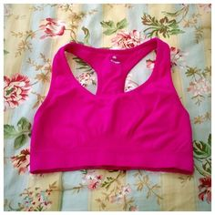 Pink Sports Bra Worn, but still in decent shape! Made of nylon & spandex. No padding. Intimates & Sleepwear Bras