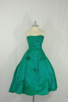 Vintage 1950's Dress  EXQUISITE IRIDESCENT Emeral Green Strapless Party Prom Frock by VintageFrocksOfFancy
