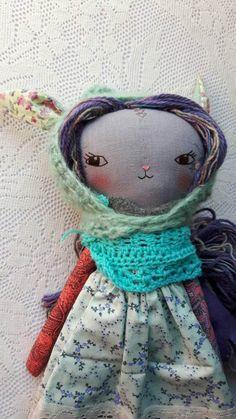 sweet rabbit joy girl  16ish handmade cloth rabbit by humbletoys