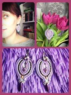 Soutache earrings Lila, white Metallic, violet, gray