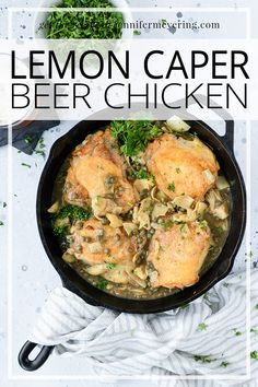 Lemon Caper Beer Chicken - Salty capers, artichoke hearts, and your favorite beer come together with perfectly seared chicken thighs and just one pan. Top Recipes, Sauce Recipes, Drink Recipes, Cooking Recipes, Easy Weeknight Meals, Easy Meals, Lemon Caper Sauce, Beer Chicken, Star Food