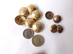 Vintage Brass Military Buttons / Fide et by CuriosAnCollectibles