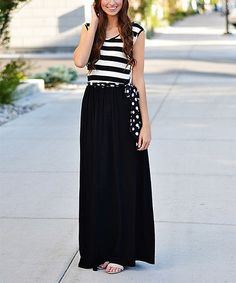 Love this Black Stripe & Polka Dot Maxi Dress on #zulily! #zulilyfinds