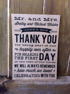 Wedding Thank You Card. $29.00, via Etsy.