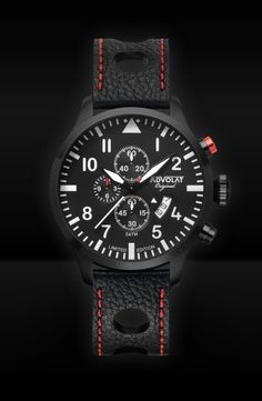ADVOLAT FLIEGER 2, Stainless Steel Casing IP black, Face black/white, Leather Bracelet punched black/red, Ref. 86008/2B-L2.6