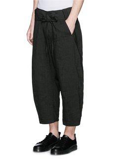 Ziggy Chen - Black Pinstripe Cotton-linen Wide Leg Pants for Men - Lyst Unisex Fashion, Mens Fashion, Wide Leg Linen Pants, Athleisure Wear, Grey Outfit, Couture Collection, Cotton Linen, Street Wear, Harems