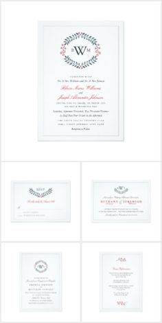 Navy Red Monogram Floral Wedding Suite Collection Navy and Red Monogram Floral Wedding suite matching invitations, RSVP cards, guest information cards, rehearsal dinner and engagement party invitations, table number cards, address labels, seating charts, postage, stickers, even cake pops all with the same matching navy blue laurel and red flower wreath design with an area for your customized monogram initials! These elegant classic yet simple wedding suite is very popular!