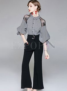Shop fashion checkered puff sleeve flare jumpsuit at ezpopsy discover fashion online clothes anime style 70 ideas clothes Look Fashion, Hijab Fashion, Fashion Beauty, Fashion Dresses, Fashion Design, Fashion Trends, Space Fashion, Fashion Clothes, Fashion Boots