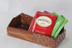 Bridges Pottery Tea Bag Caddy Honey Brown SHIPS by bridgespottery, $28.00