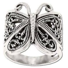 925 sterling silver filigree butterfly ring